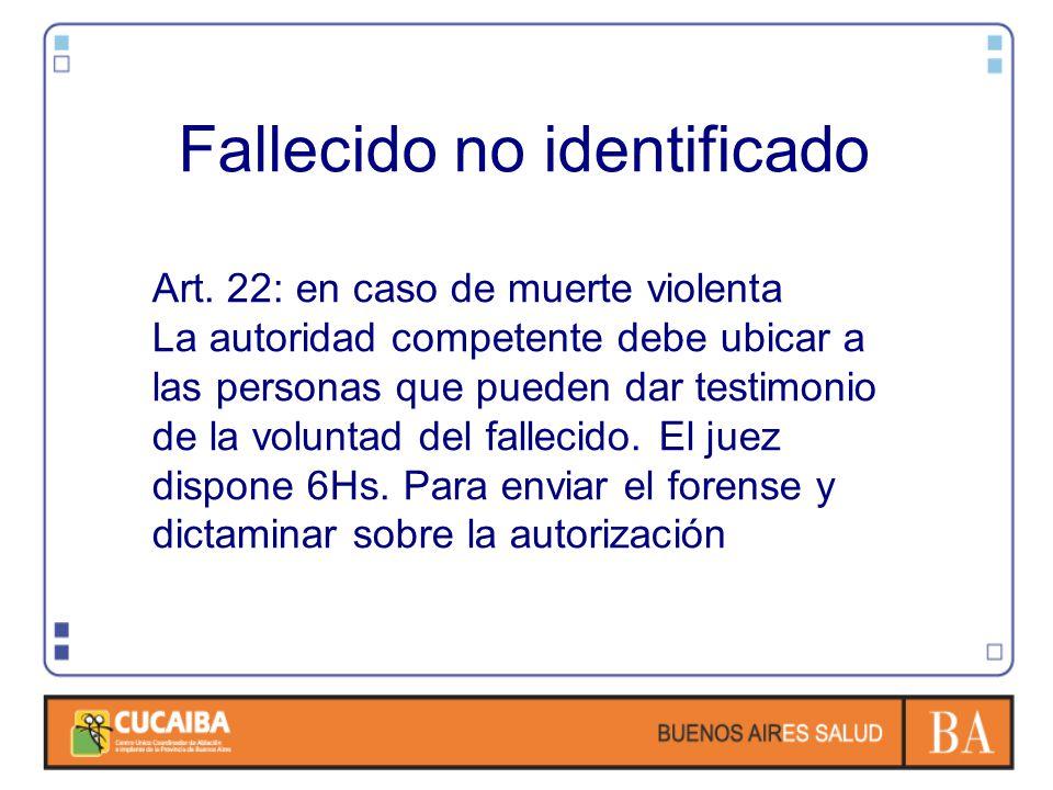 Fallecido no identificado Art. 22: en caso de muerte violenta La autoridad competente debe ubicar a las personas que pueden dar testimonio de la volun