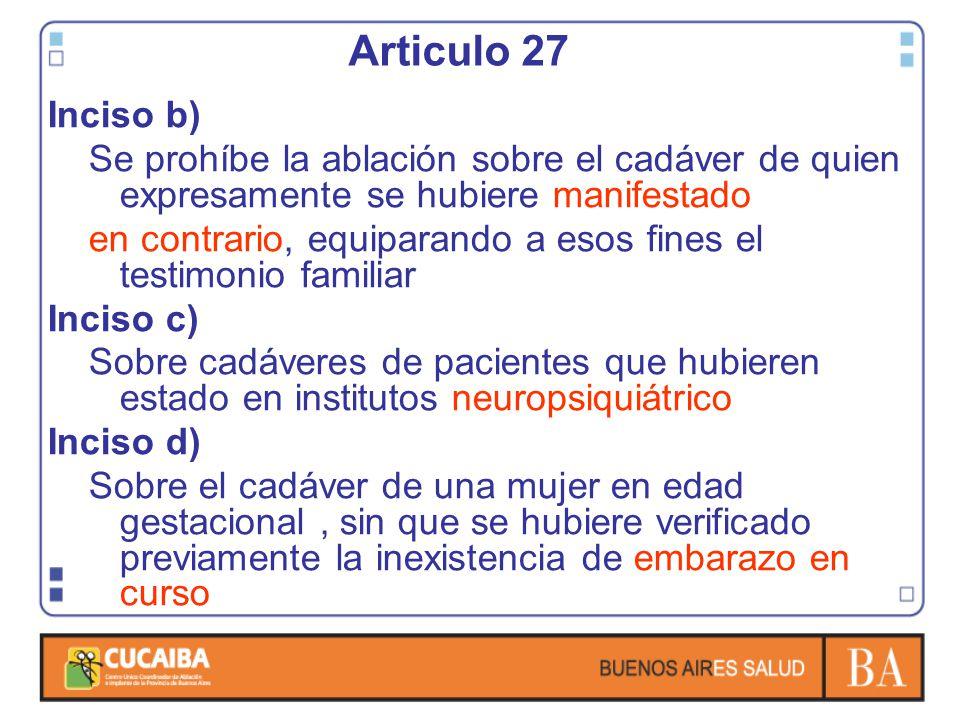 Inciso b) Se prohíbe la ablación sobre el cadáver de quien expresamente se hubiere manifestado en contrario, equiparando a esos fines el testimonio fa