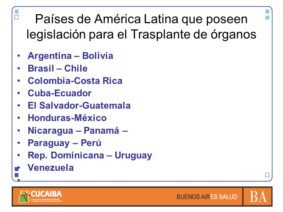 Países de América Latina que poseen legislación para el Trasplante de órganos Argentina – Bolivia Brasil – Chile Colombia-Costa Rica Cuba-Ecuador El S