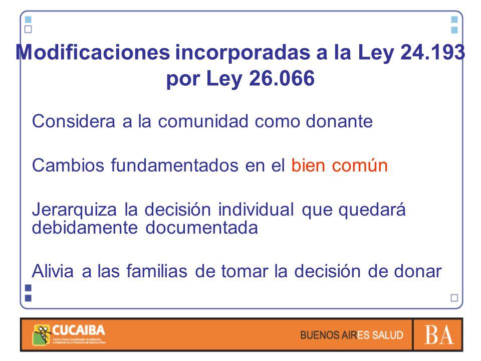 Modificaciones incorporadas a la Ley 24.193 por Ley 26.066 Considera a la comunidad como donante Cambios fundamentados en el bien común Jerarquiza la