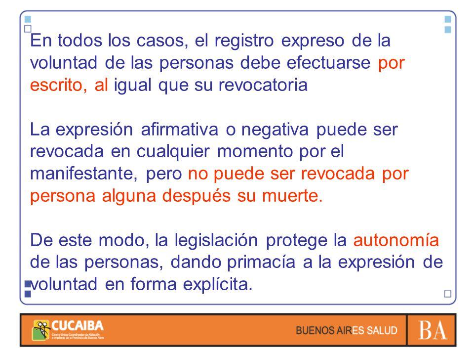 En todos los casos, el registro expreso de la voluntad de las personas debe efectuarse por escrito, al igual que su revocatoria La expresión afirmativ