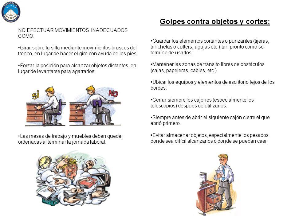 Uso Inapropiado del Mobiliario ESTANTERIAS ARMARIOS Y ARCHIVADORES.