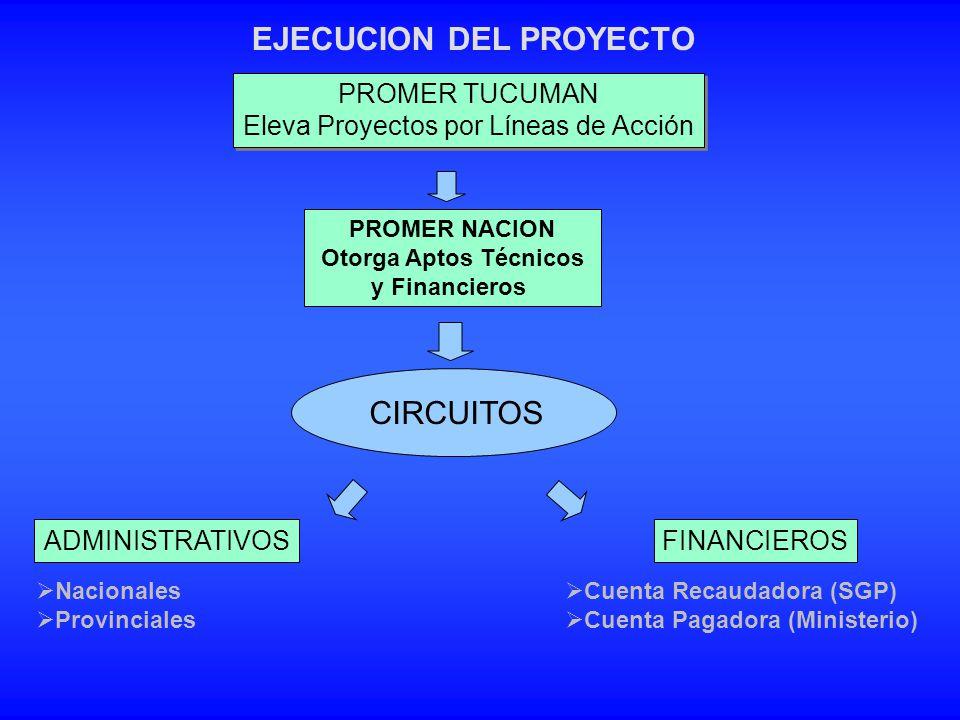 EJECUCION DEL PROYECTO FINANCIEROSADMINISTRATIVOS Cuenta Recaudadora (SGP) Cuenta Pagadora (Ministerio) CIRCUITOS PROMER TUCUMAN Eleva Proyectos por L