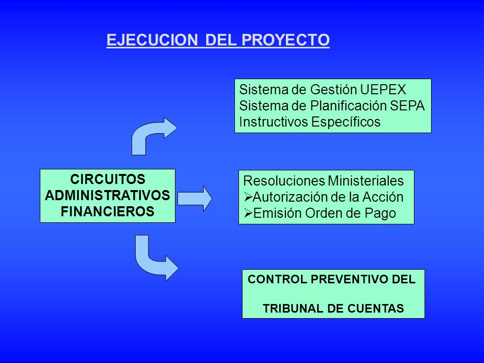 CONTROL PREVENTIVO DEL TRIBUNAL DE CUENTAS Sistema de Gestión UEPEX Sistema de Planificación SEPA Instructivos Específicos Resoluciones Ministeriales
