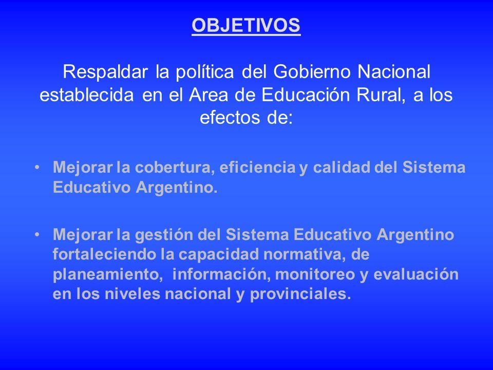 OBJETIVOS Respaldar la política del Gobierno Nacional establecida en el Area de Educación Rural, a los efectos de: Mejorar la cobertura, eficiencia y