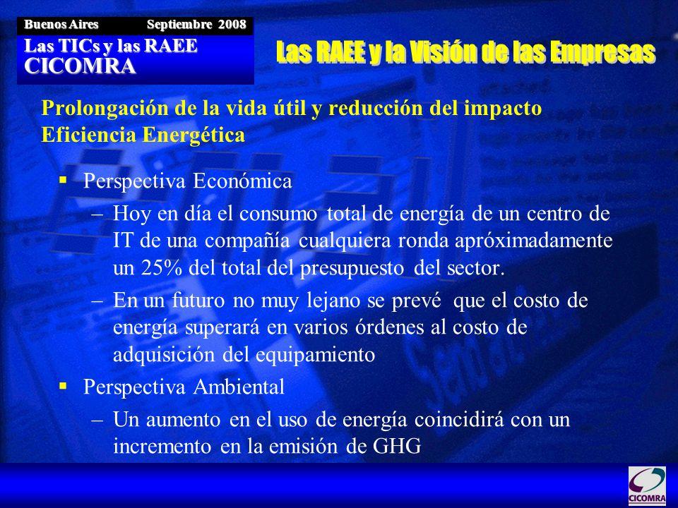 Las TICs y las RAEE CICOMRA Buenos Aires Septiembre 2008 Prolongación de la vida útil y reducción del impacto Eficiencia Energética Perspectiva Económica –Hoy en día el consumo total de energía de un centro de IT de una compañía cualquiera ronda apróximadamente un 25% del total del presupuesto del sector.