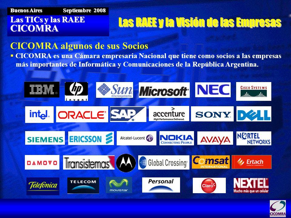 Las TICs y las RAEE CICOMRA Buenos Aires Septiembre 2008 CICOMRA algunos de sus Socios CICOMRA es una Cámara empresaria Nacional que tiene como socios a las empresas más importantes de Informática y Comunicaciones de la República Argentina.