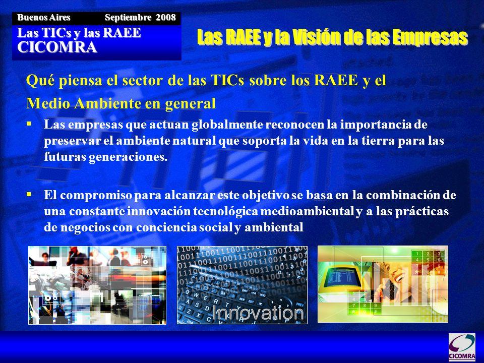 Las TICs y las RAEE CICOMRA Buenos Aires Septiembre 2008 Qué piensa el sector de las TICs sobre los RAEE y el Medio Ambiente en general Las empresas que actuan globalmente reconocen la importancia de preservar el ambiente natural que soporta la vida en la tierra para las futuras generaciones.