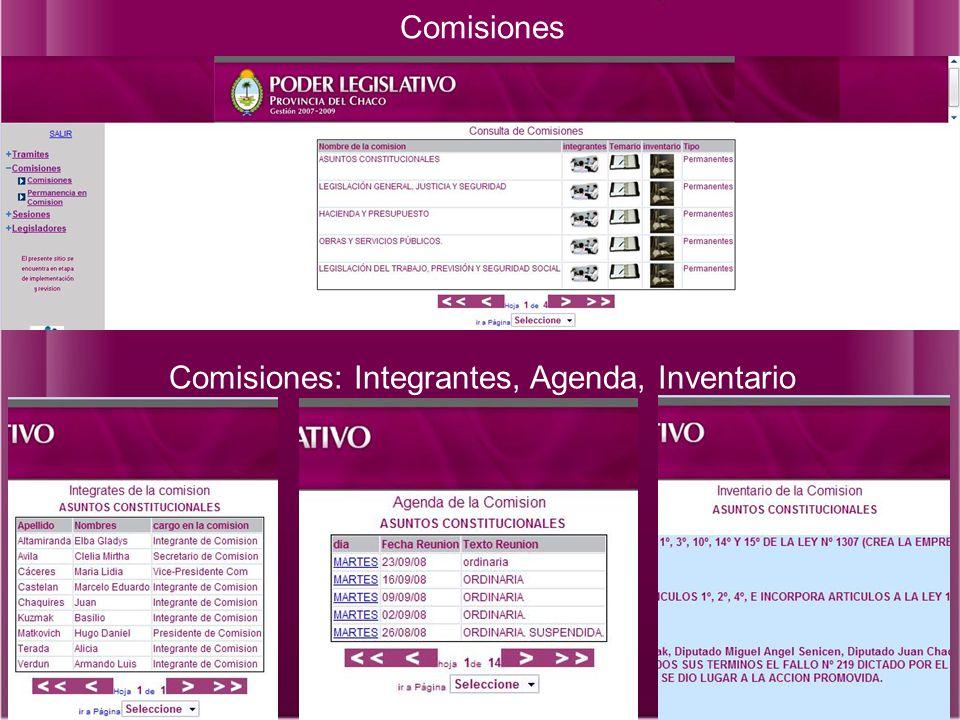 Comisiones Comisiones: Integrantes, Agenda, Inventario