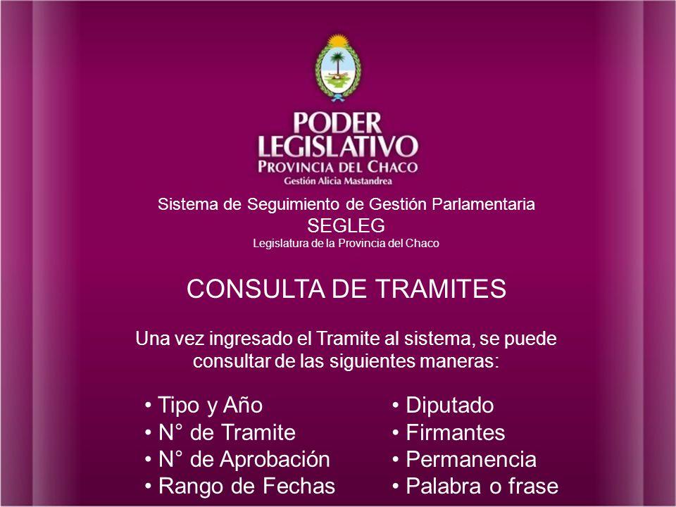 CONSULTA DE TRAMITES Tipo y Año CONSULTA DE TRAMITES N° de Tramite