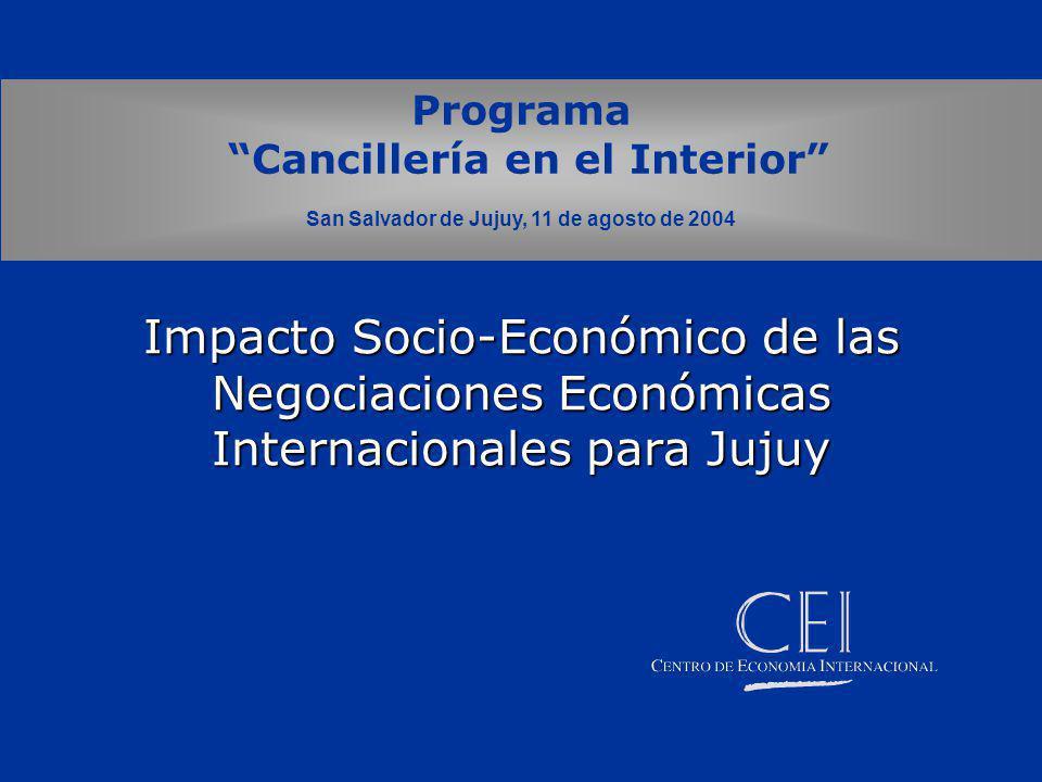 Impacto Socio-Económico de las Negociaciones Económicas Internacionales para Jujuy Programa Cancillería en el Interior San Salvador de Jujuy, 11 de agosto de 2004