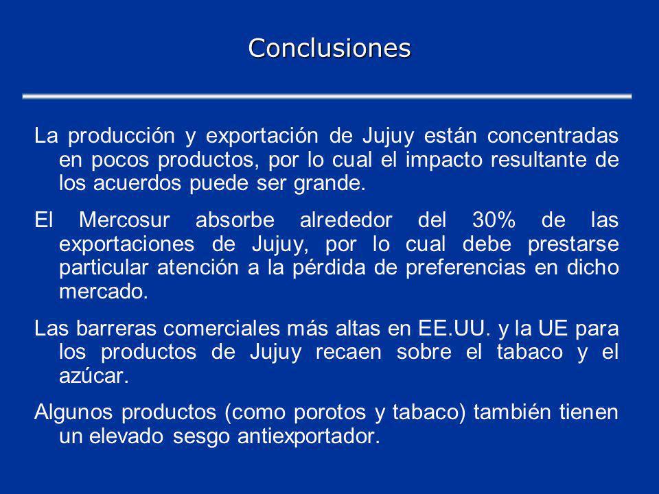 Conclusiones La producción y exportación de Jujuy están concentradas en pocos productos, por lo cual el impacto resultante de los acuerdos puede ser grande.