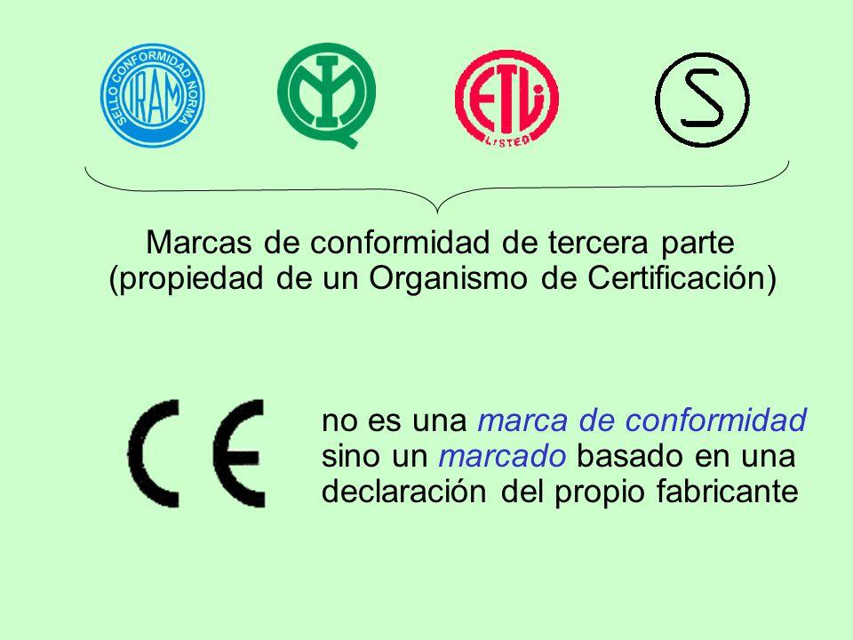 Marcas de conformidad de tercera parte (propiedad de un Organismo de Certificación) no es una marca de conformidad sino un marcado basado en una decla