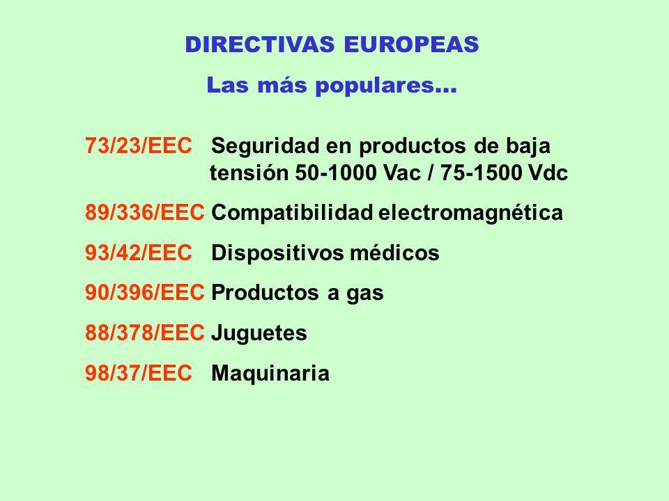 DIRECTIVAS EUROPEAS Las más populares... 73/23/EEC Seguridad en productos de baja tensión 50-1000 Vac / 75-1500 Vdc 89/336/EEC Compatibilidad electrom