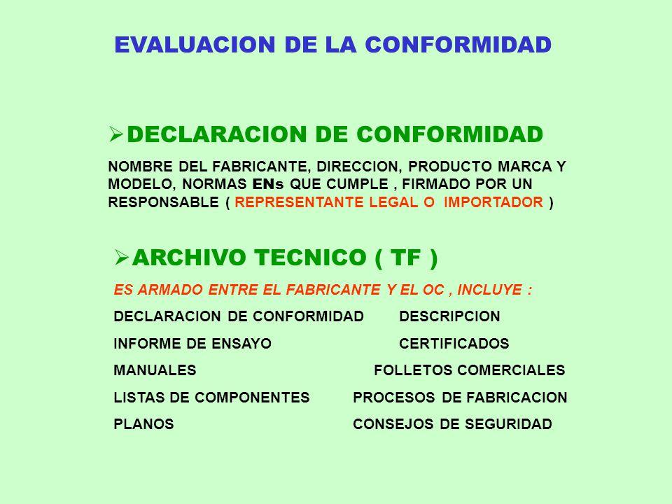 DECLARACION DE CONFORMIDAD NOMBRE DEL FABRICANTE, DIRECCION, PRODUCTO MARCA Y MODELO, NORMAS ENs QUE CUMPLE, FIRMADO POR UN RESPONSABLE ( REPRESENTANT