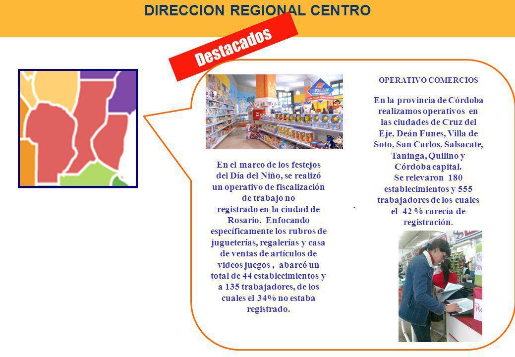 DIRECCION REGIONAL CENTRO Destacados. OPERATIVO COMERCIOS En la provincia de Córdoba realizamos operativos en las ciudades de Cruz del Eje, Deán Funes