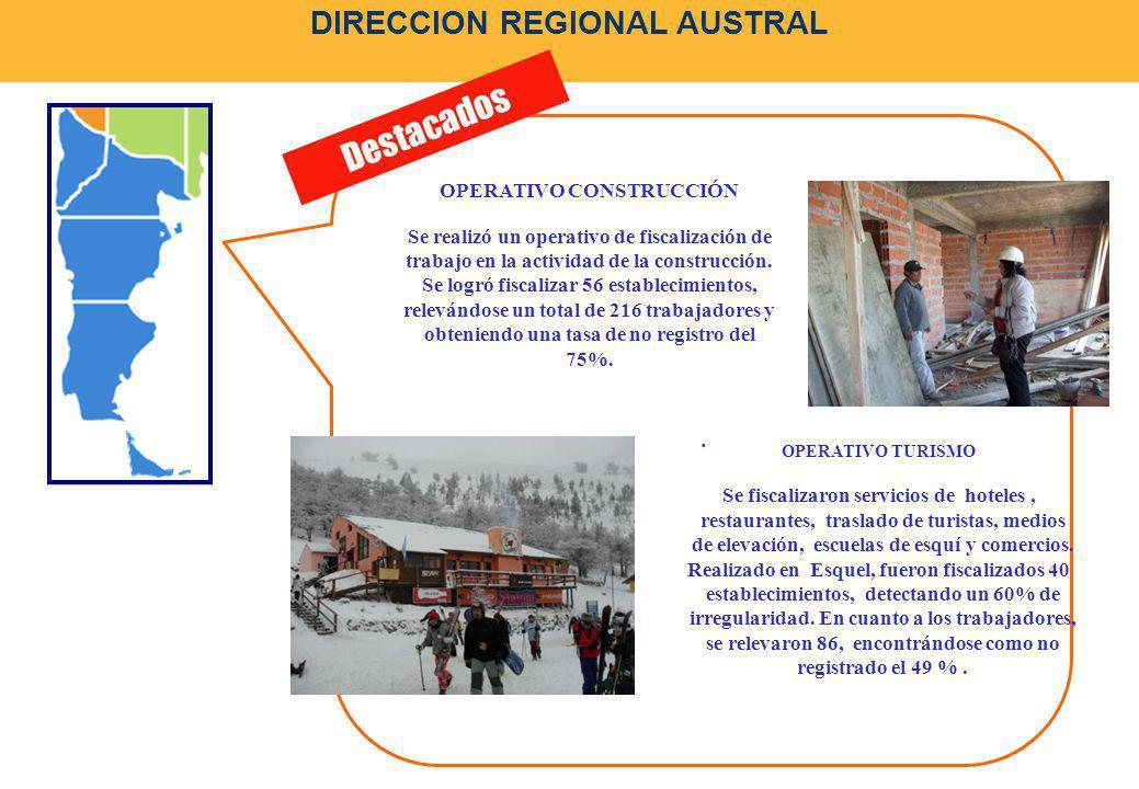 DIRECCION REGIONAL AUSTRAL. Destacados OPERATIVO CONSTRUCCIÓN Se realizó un operativo de fiscalización de trabajo en la actividad de la construcción.
