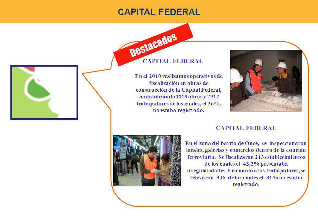 Destacados CAPITAL FEDERAL En el 2010 realizamos operativos de fiscalización en obras de construcción de la Capital Federal, contabilizando 1119 obras y 7912 trabajadores de los cuales, el 26%, no estaba registrado.