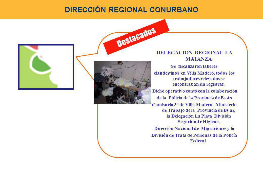 . Destacados DIRECCIÓN REGIONAL CONURBANO DELEGACION REGIONAL LA MATANZA Se fiscalizaron talleres clandestinos en Villa Madero, todos los trabajadores