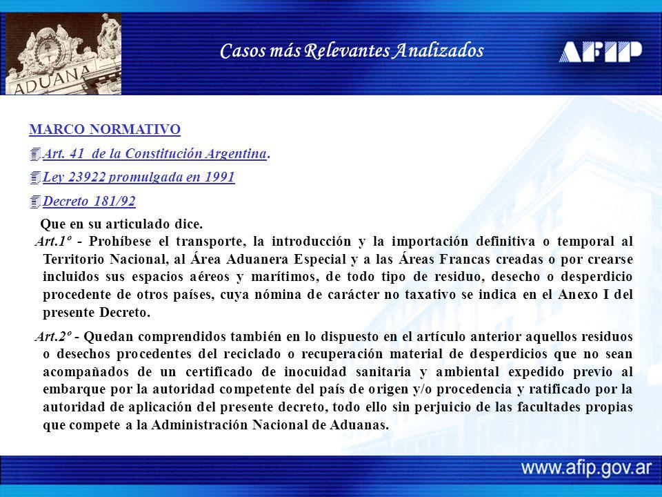MARCO NORMATIVO 4Art. 41 de la Constitución Argentina. 4Ley 23922 promulgada en 1991 4Decreto 181/92 Que en su articulado dice. Art.1º - Prohíbese el