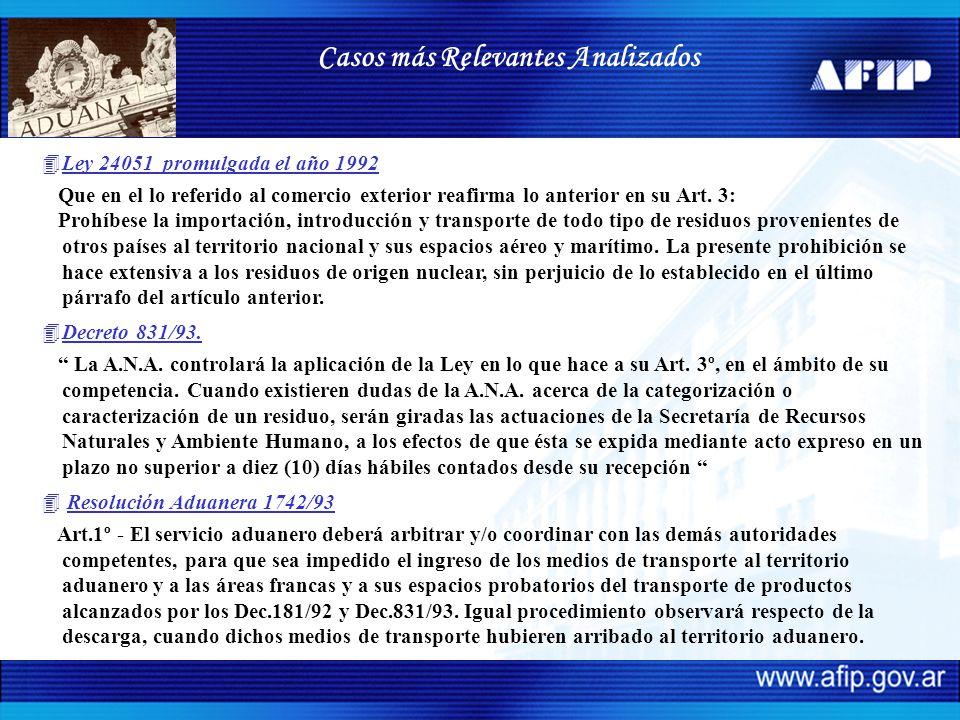 4Ley 24051 promulgada el año 1992 Que en el lo referido al comercio exterior reafirma lo anterior en su Art. 3: Prohíbese la importación, introducción