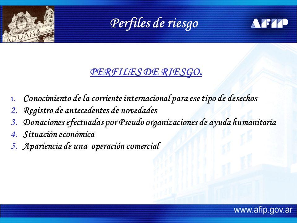 PERFILES DE RIESGO. 1. Conocimiento de la corriente internacional para ese tipo de desechos 2.Registro de antecedentes de novedades 3.Donaciones efect