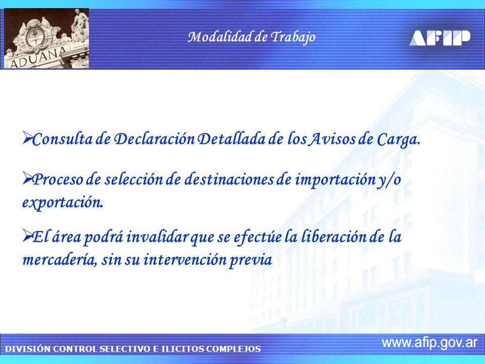 DIVISIÓN CONTROL SELECTIVO E ILICITOS COMPLEJOS Modalidad de Trabajo Proceso de selección de destinaciones de importación y/o exportación. Consulta de