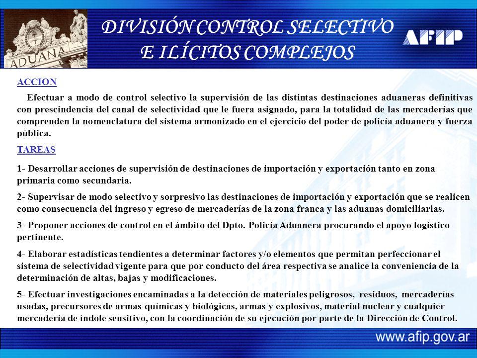 ACCION Efectuar a modo de control selectivo la supervisión de las distintas destinaciones aduaneras definitivas con prescindencia del canal de selecti