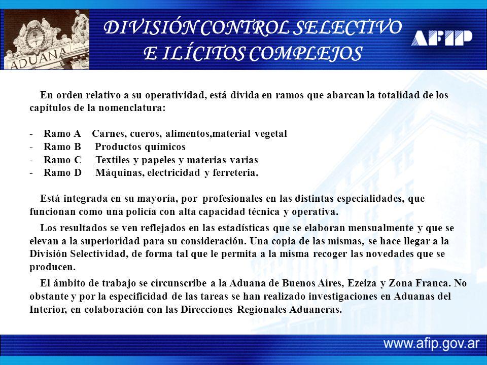 DIVISIÓN CONTROL SELECTIVO E ILICITOS COMPLEJOS Análisis de Casos sobre Actuaciones Realizadas por el Area