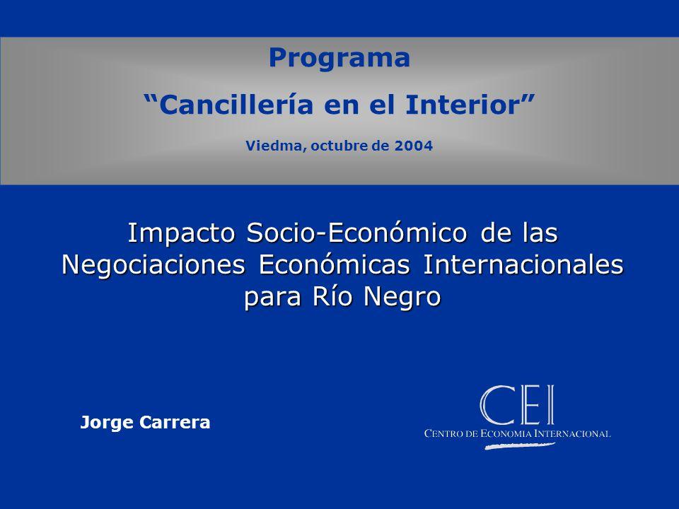 Impacto Socio-Económico de las Negociaciones Económicas Internacionales para Río Negro Programa Cancillería en el Interior Viedma, octubre de 2004 Jorge Carrera