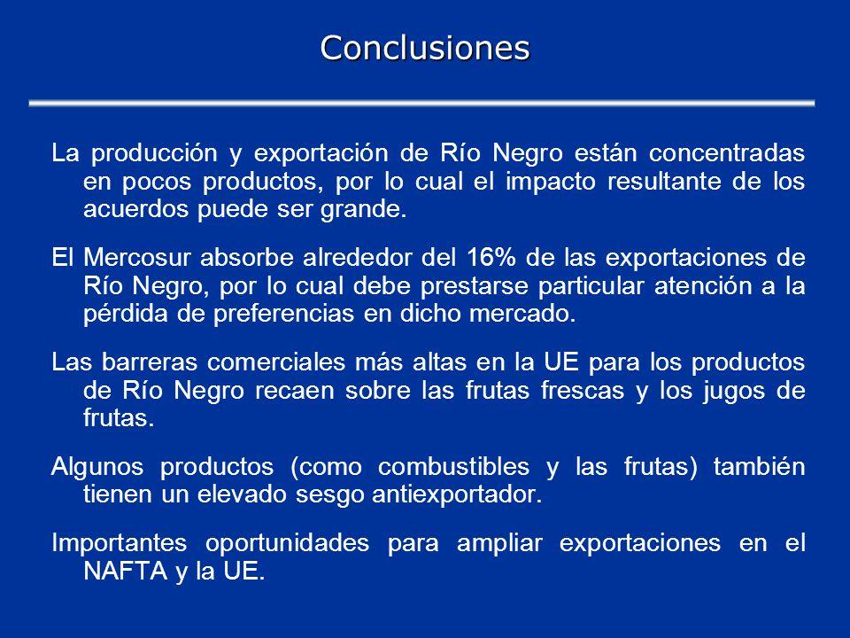 Conclusiones La producción y exportación de Río Negro están concentradas en pocos productos, por lo cual el impacto resultante de los acuerdos puede ser grande.