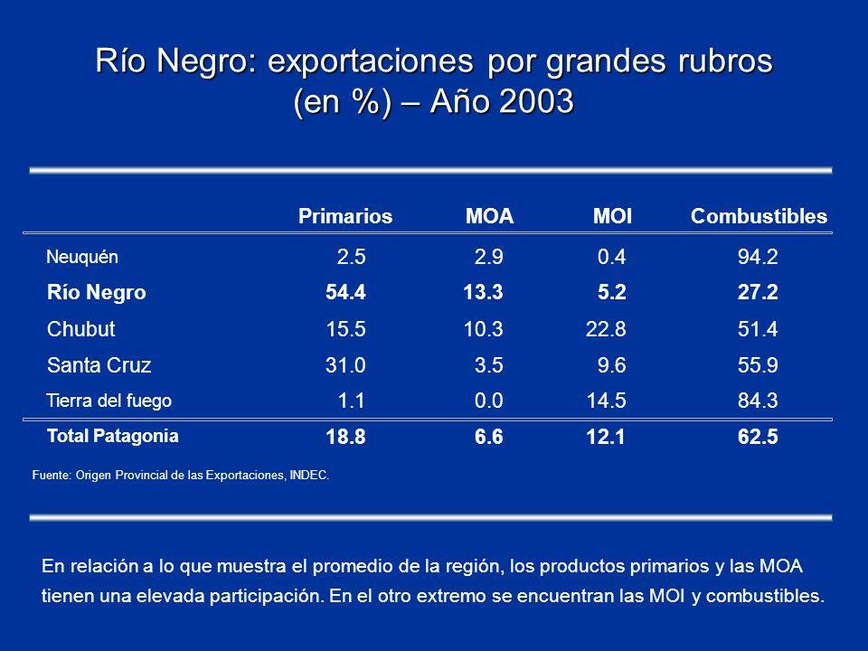 Río Negro: exportaciones por grandes rubros (en %) – Año 2003 PrimariosMOAMOICombustibles Neuquén 2.52.90.494.2 Río Negro54.413.35.227.2 Chubut15.510.322.851.4 Santa Cruz31.03.59.655.9 Tierra del fuego 1.10.014.584.3 Total Patagonia 18.86.612.162.5 Fuente: Origen Provincial de las Exportaciones, INDEC.