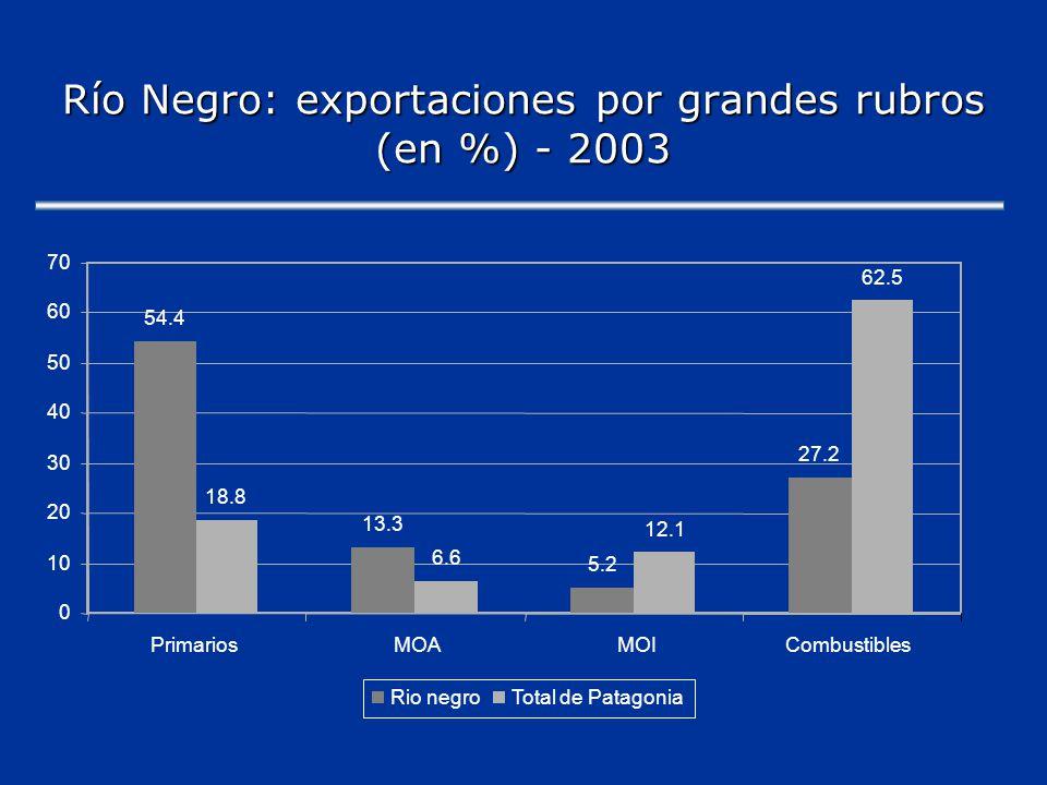 Río Negro: Principales productos de exportación-2003 Mill.de USD% expo.
