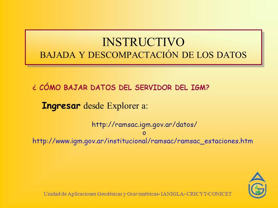 ¿ CÓMO BAJAR DATOS DEL SERVIDOR DEL IGM? Ingresar desde Explorer a: http://ramsac.igm.gov.ar/datos/ o http://www.igm.gov.ar/institucional/ramsac/ramsa