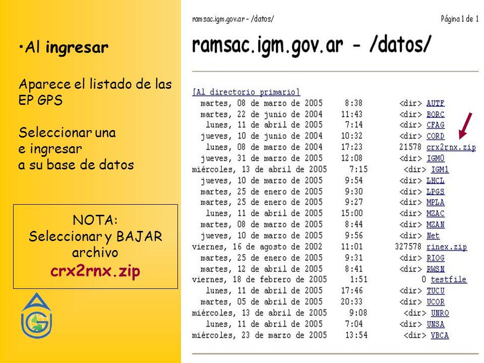 Al ingresar Aparece el listado de las EP GPS Seleccionar una e ingresar a su base de datos NOTA: Seleccionar y BAJAR archivo crx2rnx.zip