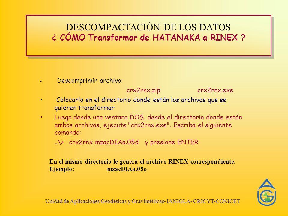 Unidad de Aplicaciones Geodésicas y Gravimétricas- IANIGLA- CRICYT-CONICET DESCOMPACTACIÓN DE LOS DATOS ¿ CÓMO Transformar de HATANAKA a RINEX .