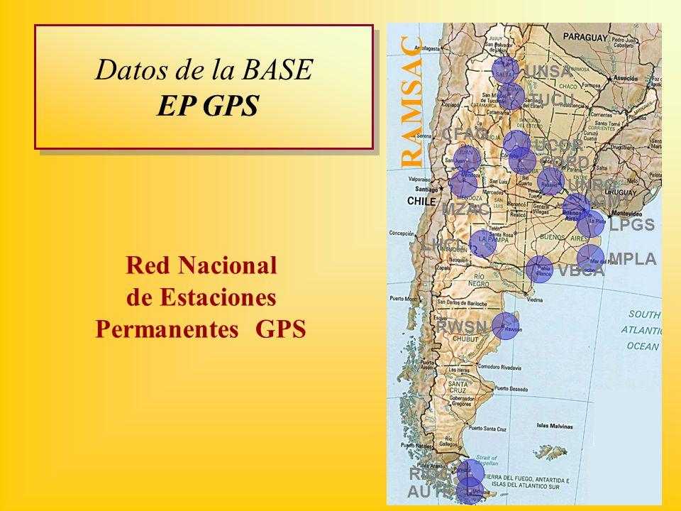 MPLA LPGS RAMSAC MZAC IGM1 VBCA RWSN LHCL CFAG UCOR TUCU UNSA AUTF CORD UNRO RIOG Red Nacional de Estaciones Permanentes GPS Datos de la BASE EP GPS