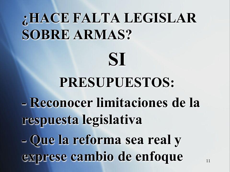 11 ¿HACE FALTA LEGISLAR SOBRE ARMAS? SIPRESUPUESTOS: - Reconocer limitaciones de la respuesta legislativa - Que la reforma sea real y exprese cambio d
