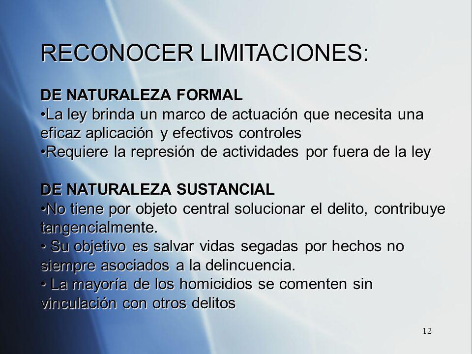 12 RECONOCER LIMITACIONES: DE NATURALEZA FORMAL La ley brinda un marco de actuación que necesita una eficaz aplicación y efectivos controlesLa ley bri