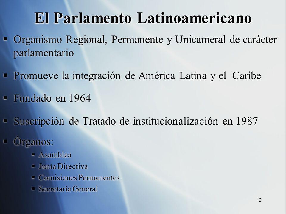 2 El Parlamento Latinoamericano Organismo Regional, Permanente y Unicameral de carácter parlamentario Promueve la integración de América Latina y el C