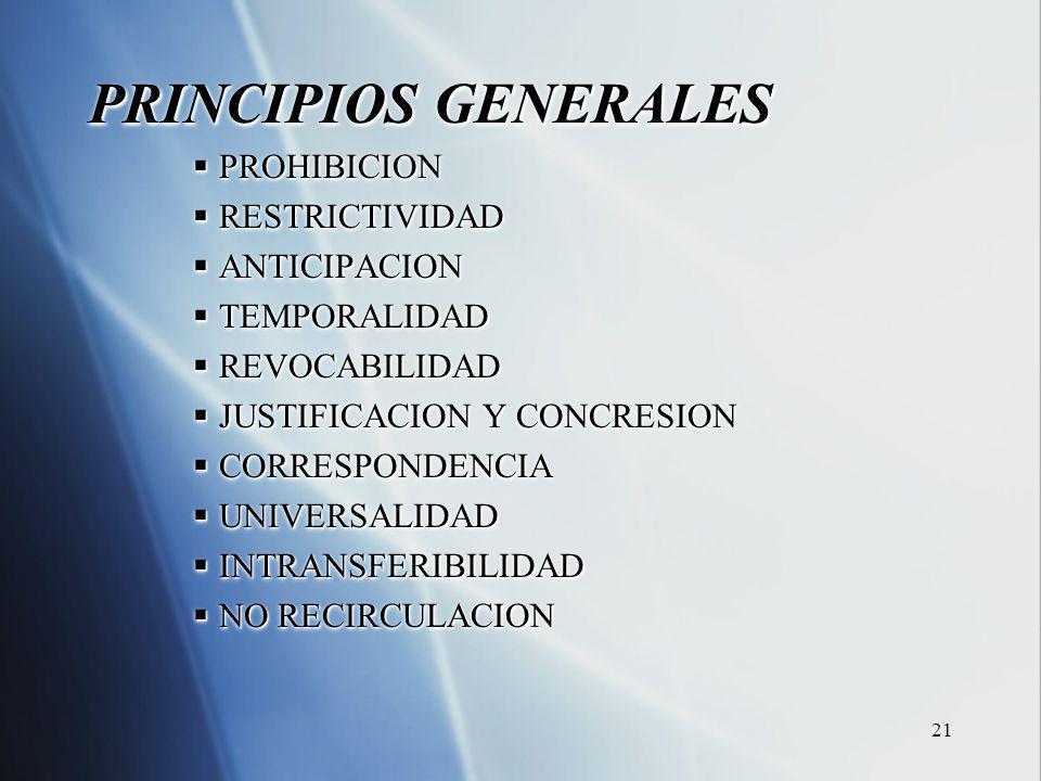 21 PRINCIPIOS GENERALES PROHIBICION PROHIBICION RESTRICTIVIDAD RESTRICTIVIDAD ANTICIPACION ANTICIPACION TEMPORALIDAD TEMPORALIDAD REVOCABILIDAD REVOCABILIDAD JUSTIFICACION Y CONCRESION JUSTIFICACION Y CONCRESION CORRESPONDENCIA CORRESPONDENCIA UNIVERSALIDAD UNIVERSALIDAD INTRANSFERIBILIDAD INTRANSFERIBILIDAD NO RECIRCULACION NO RECIRCULACION PRINCIPIOS GENERALES PROHIBICION PROHIBICION RESTRICTIVIDAD RESTRICTIVIDAD ANTICIPACION ANTICIPACION TEMPORALIDAD TEMPORALIDAD REVOCABILIDAD REVOCABILIDAD JUSTIFICACION Y CONCRESION JUSTIFICACION Y CONCRESION CORRESPONDENCIA CORRESPONDENCIA UNIVERSALIDAD UNIVERSALIDAD INTRANSFERIBILIDAD INTRANSFERIBILIDAD NO RECIRCULACION NO RECIRCULACION