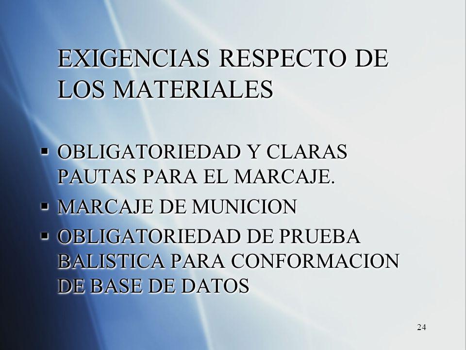 24 EXIGENCIAS RESPECTO DE LOS MATERIALES OBLIGATORIEDAD Y CLARAS PAUTAS PARA EL MARCAJE. OBLIGATORIEDAD Y CLARAS PAUTAS PARA EL MARCAJE. MARCAJE DE MU