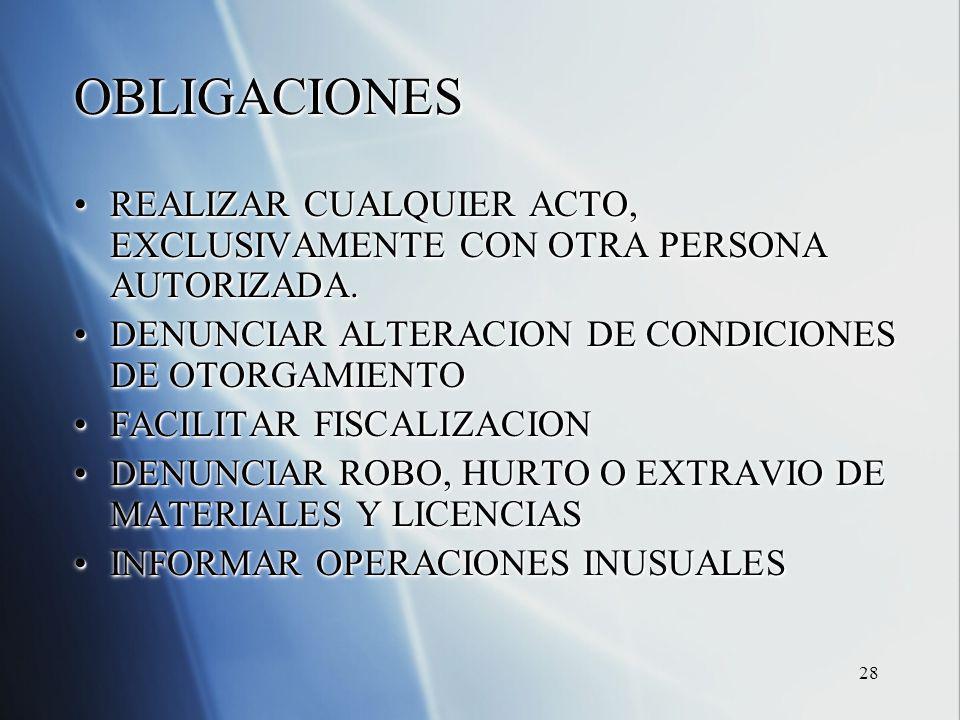 28 OBLIGACIONES REALIZAR CUALQUIER ACTO, EXCLUSIVAMENTE CON OTRA PERSONA AUTORIZADA.REALIZAR CUALQUIER ACTO, EXCLUSIVAMENTE CON OTRA PERSONA AUTORIZAD