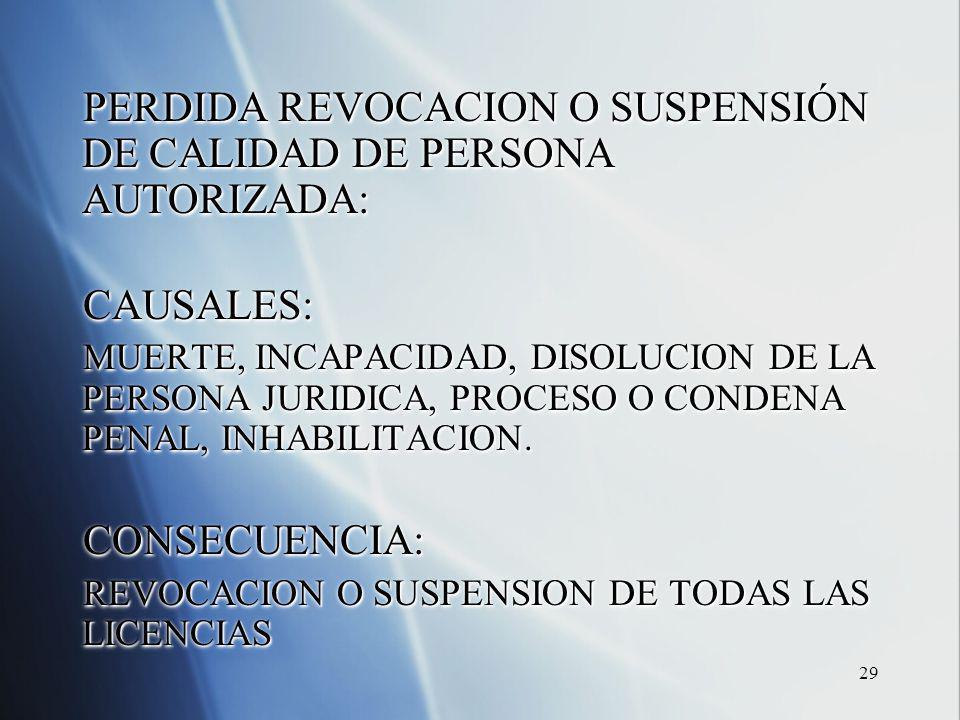 29 PERDIDA REVOCACION O SUSPENSIÓN DE CALIDAD DE PERSONA AUTORIZADA: CAUSALES: MUERTE, INCAPACIDAD, DISOLUCION DE LA PERSONA JURIDICA, PROCESO O CONDENA PENAL, INHABILITACION.