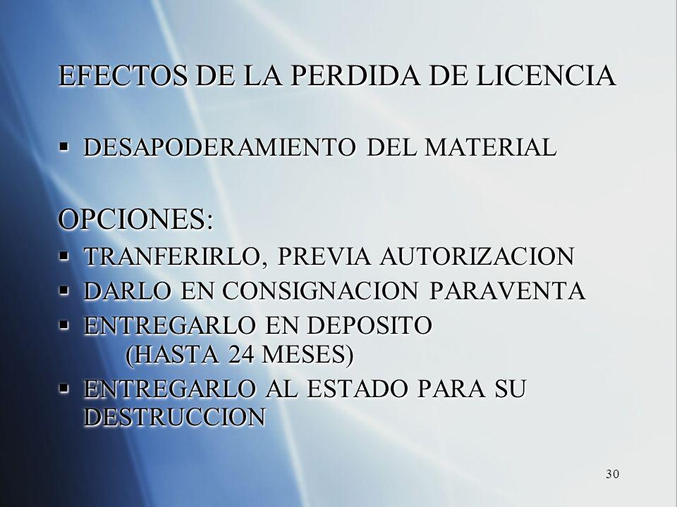 30 EFECTOS DE LA PERDIDA DE LICENCIA DESAPODERAMIENTO DEL MATERIAL DESAPODERAMIENTO DEL MATERIALOPCIONES: TRANFERIRLO, PREVIA AUTORIZACION TRANFERIRLO, PREVIA AUTORIZACION DARLO EN CONSIGNACION PARAVENTA DARLO EN CONSIGNACION PARAVENTA ENTREGARLO EN DEPOSITO (HASTA 24 MESES) ENTREGARLO EN DEPOSITO (HASTA 24 MESES) ENTREGARLO AL ESTADO PARA SU DESTRUCCION ENTREGARLO AL ESTADO PARA SU DESTRUCCION EFECTOS DE LA PERDIDA DE LICENCIA DESAPODERAMIENTO DEL MATERIAL DESAPODERAMIENTO DEL MATERIALOPCIONES: TRANFERIRLO, PREVIA AUTORIZACION TRANFERIRLO, PREVIA AUTORIZACION DARLO EN CONSIGNACION PARAVENTA DARLO EN CONSIGNACION PARAVENTA ENTREGARLO EN DEPOSITO (HASTA 24 MESES) ENTREGARLO EN DEPOSITO (HASTA 24 MESES) ENTREGARLO AL ESTADO PARA SU DESTRUCCION ENTREGARLO AL ESTADO PARA SU DESTRUCCION