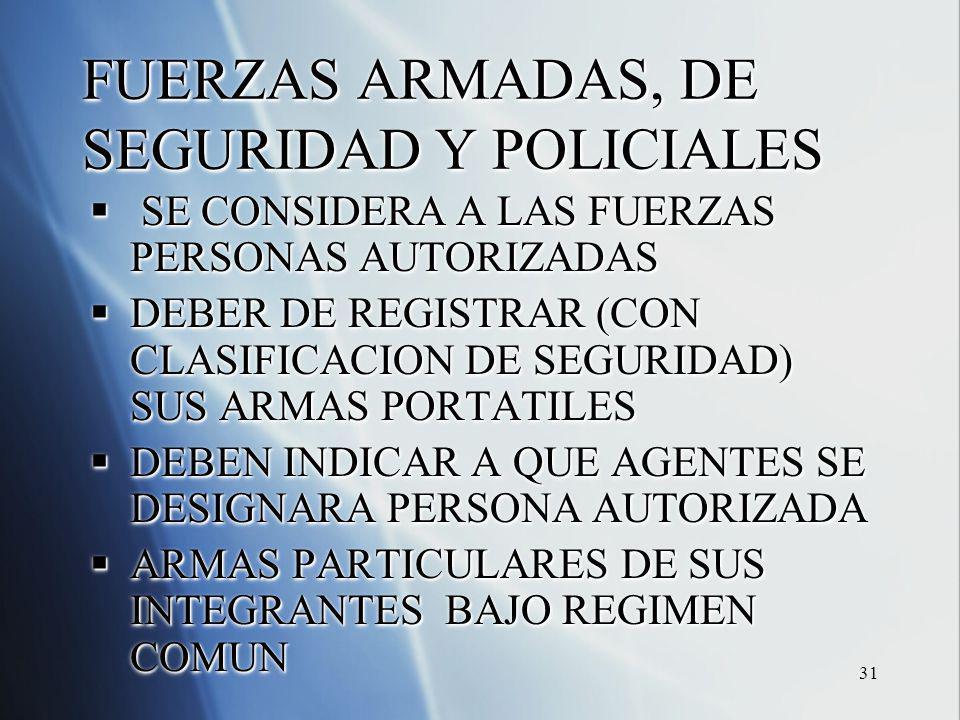 31 FUERZAS ARMADAS, DE SEGURIDAD Y POLICIALES SE CONSIDERA A LAS FUERZAS PERSONAS AUTORIZADAS SE CONSIDERA A LAS FUERZAS PERSONAS AUTORIZADAS DEBER DE REGISTRAR (CON CLASIFICACION DE SEGURIDAD) SUS ARMAS PORTATILES DEBER DE REGISTRAR (CON CLASIFICACION DE SEGURIDAD) SUS ARMAS PORTATILES DEBEN INDICAR A QUE AGENTES SE DESIGNARA PERSONA AUTORIZADA DEBEN INDICAR A QUE AGENTES SE DESIGNARA PERSONA AUTORIZADA ARMAS PARTICULARES DE SUS INTEGRANTES BAJO REGIMEN COMUN ARMAS PARTICULARES DE SUS INTEGRANTES BAJO REGIMEN COMUN SE CONSIDERA A LAS FUERZAS PERSONAS AUTORIZADAS SE CONSIDERA A LAS FUERZAS PERSONAS AUTORIZADAS DEBER DE REGISTRAR (CON CLASIFICACION DE SEGURIDAD) SUS ARMAS PORTATILES DEBER DE REGISTRAR (CON CLASIFICACION DE SEGURIDAD) SUS ARMAS PORTATILES DEBEN INDICAR A QUE AGENTES SE DESIGNARA PERSONA AUTORIZADA DEBEN INDICAR A QUE AGENTES SE DESIGNARA PERSONA AUTORIZADA ARMAS PARTICULARES DE SUS INTEGRANTES BAJO REGIMEN COMUN ARMAS PARTICULARES DE SUS INTEGRANTES BAJO REGIMEN COMUN