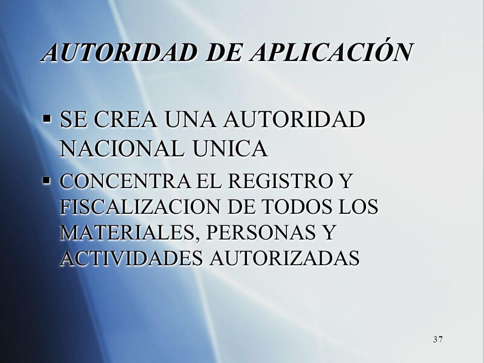 37 AUTORIDAD DE APLICACIÓN SE CREA UNA AUTORIDAD NACIONAL UNICA SE CREA UNA AUTORIDAD NACIONAL UNICA CONCENTRA EL REGISTRO Y FISCALIZACION DE TODOS LOS MATERIALES, PERSONAS Y ACTIVIDADES AUTORIZADAS CONCENTRA EL REGISTRO Y FISCALIZACION DE TODOS LOS MATERIALES, PERSONAS Y ACTIVIDADES AUTORIZADAS AUTORIDAD DE APLICACIÓN SE CREA UNA AUTORIDAD NACIONAL UNICA SE CREA UNA AUTORIDAD NACIONAL UNICA CONCENTRA EL REGISTRO Y FISCALIZACION DE TODOS LOS MATERIALES, PERSONAS Y ACTIVIDADES AUTORIZADAS CONCENTRA EL REGISTRO Y FISCALIZACION DE TODOS LOS MATERIALES, PERSONAS Y ACTIVIDADES AUTORIZADAS