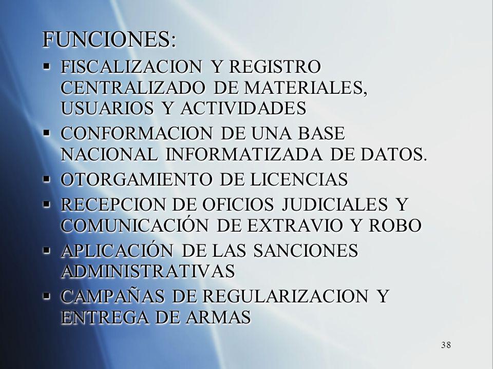 38 FUNCIONES: FISCALIZACION Y REGISTRO CENTRALIZADO DE MATERIALES, USUARIOS Y ACTIVIDADES FISCALIZACION Y REGISTRO CENTRALIZADO DE MATERIALES, USUARIOS Y ACTIVIDADES CONFORMACION DE UNA BASE NACIONAL INFORMATIZADA DE DATOS.