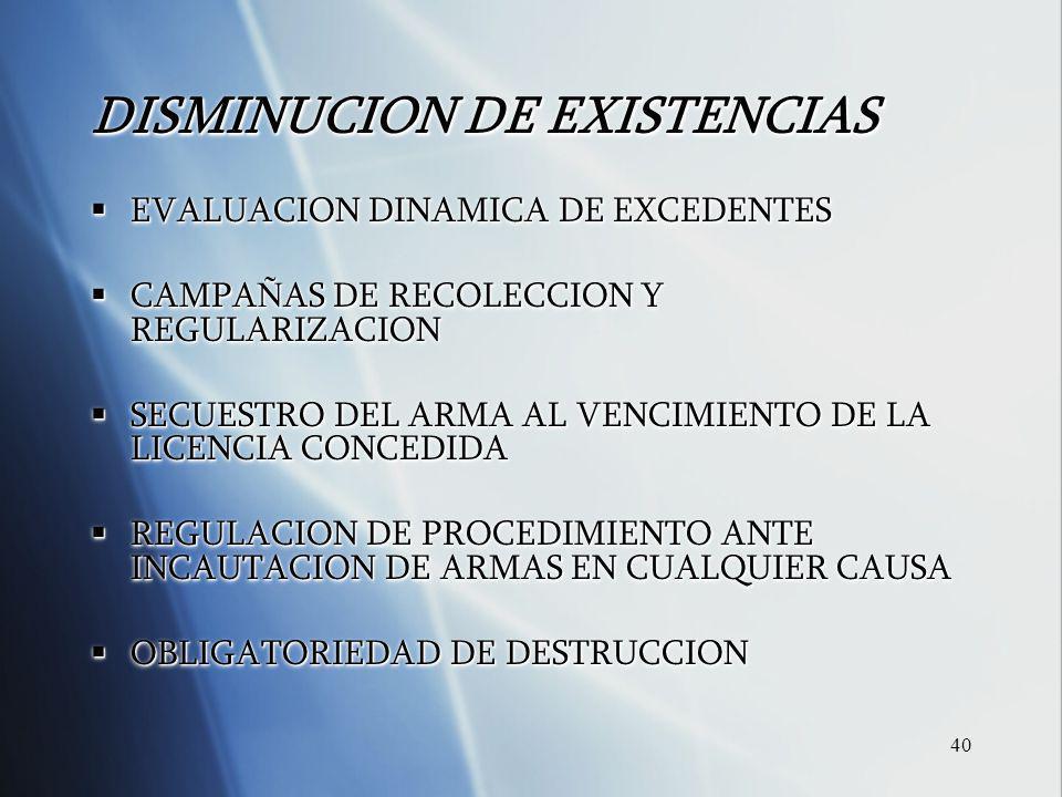 40 DISMINUCION DE EXISTENCIAS EVALUACION DINAMICA DE EXCEDENTES EVALUACION DINAMICA DE EXCEDENTES CAMPA Ñ AS DE RECOLECCION Y REGULARIZACION CAMPA Ñ A