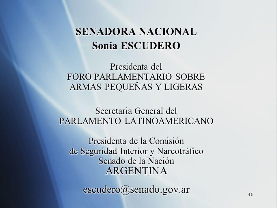 46 SENADORA NACIONAL Sonia ESCUDERO Presidenta del FORO PARLAMENTARIO SOBRE ARMAS PEQUEÑAS Y LIGERAS Secretaria General del PARLAMENTO LATINOAMERICANO Presidenta de la Comisión de Seguridad Interior y Narcotráfico Senado de la Nación ARGENTINAescudero@senado.gov.ar SENADORA NACIONAL Sonia ESCUDERO Presidenta del FORO PARLAMENTARIO SOBRE ARMAS PEQUEÑAS Y LIGERAS Secretaria General del PARLAMENTO LATINOAMERICANO Presidenta de la Comisión de Seguridad Interior y Narcotráfico Senado de la Nación ARGENTINAescudero@senado.gov.ar